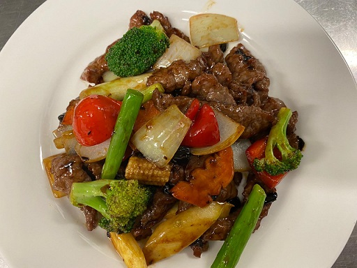 Beef and veg with black bean sauce