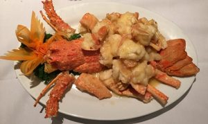 Lobster with garlic and butter sauce